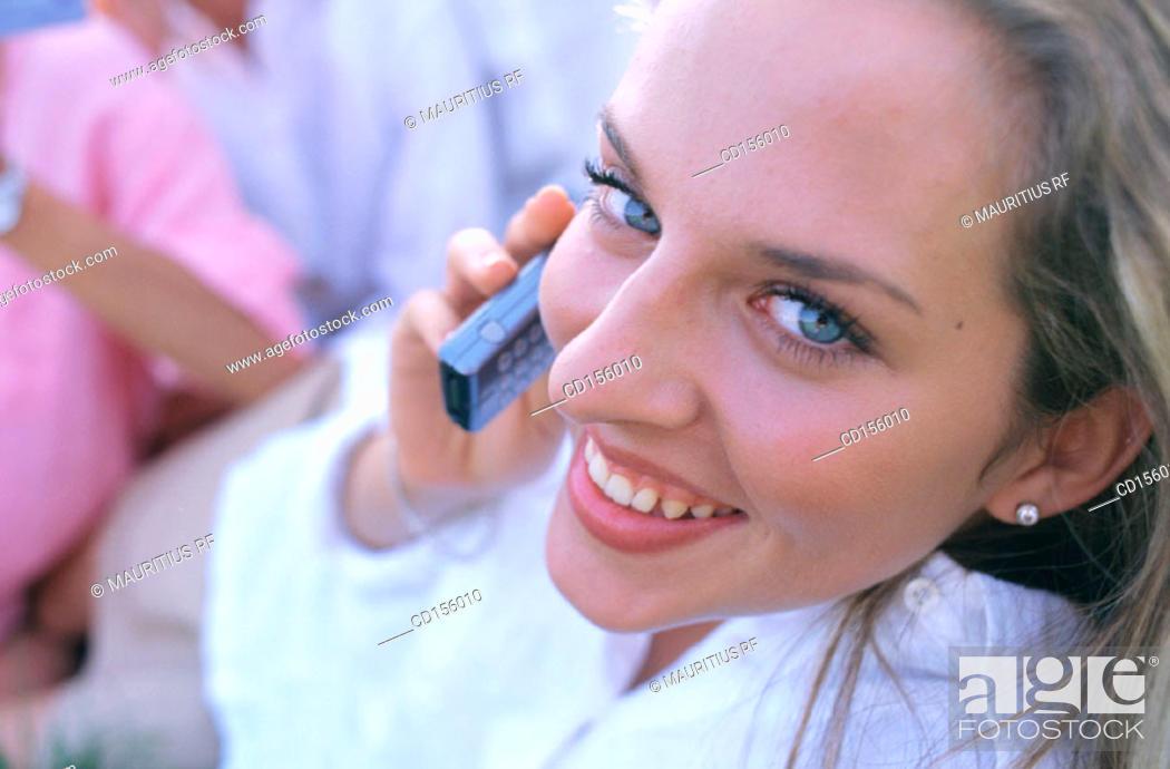 Stock Photo: Telecommunication, Conversation, Happy.