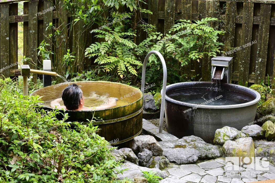 Stock Photo: Outdoor bath onsen, Hakone, Japan, Asia.