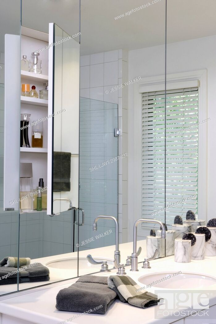 Bathroom Hidden Medicine Cabinet Behind Wall Of Mirrors In Master Bath Contemporary Stock Photo Picture And Rights Managed Image Pic Shl Ljw1 2987 032 Agefotostock