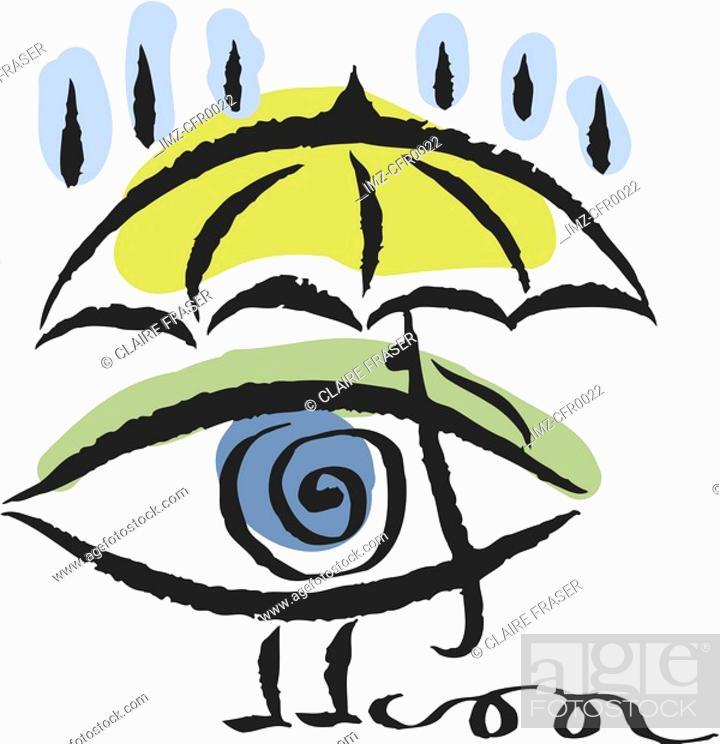 Stock Photo: eye under an umbrella.