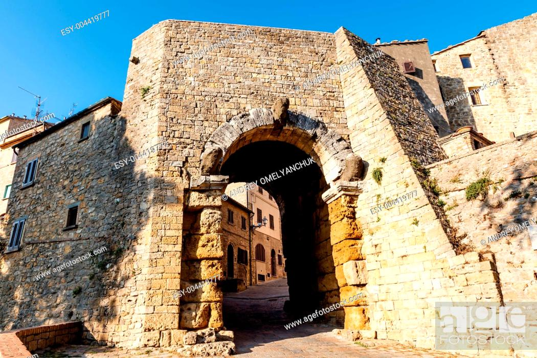 Stock Photo: Ancient Etruscan Gate of Volterra in Italy.