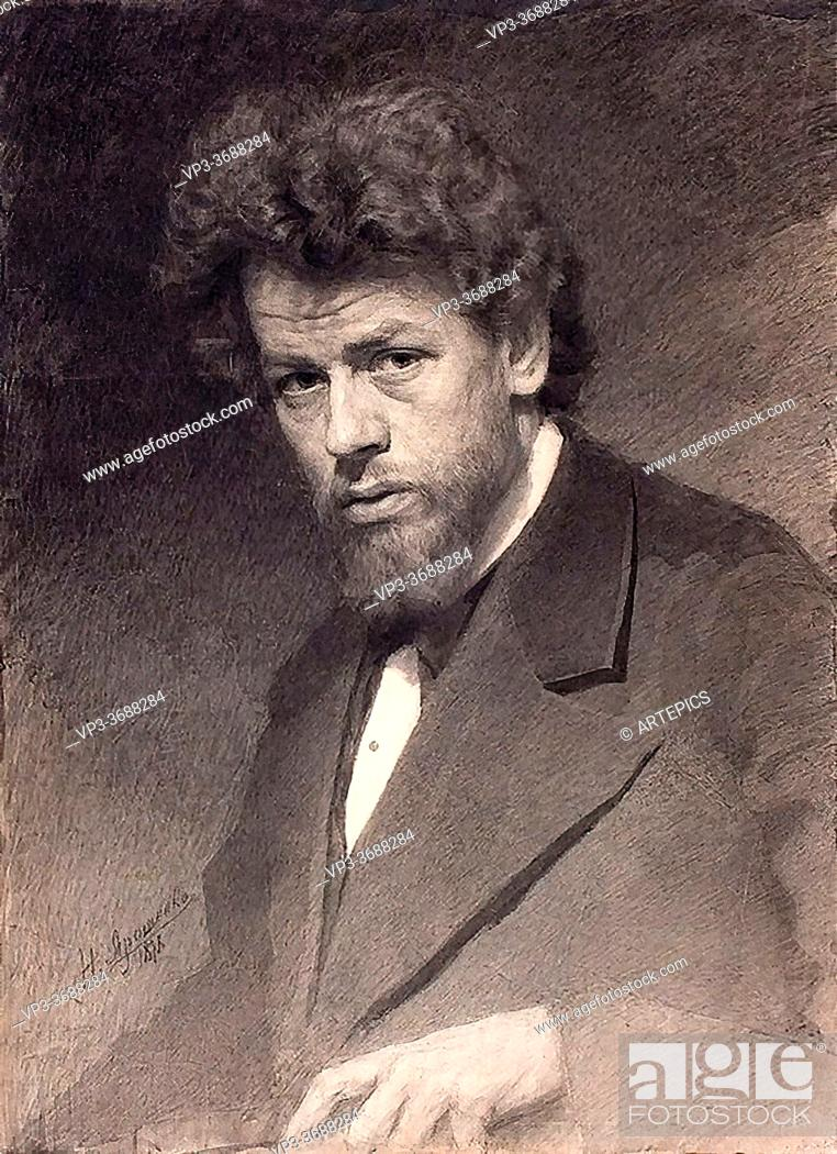 Imagen: Yaroshenko Nikolai - Portrait of the Painter Vasily Maximov - Russian School - 19th and Early 20th Century.