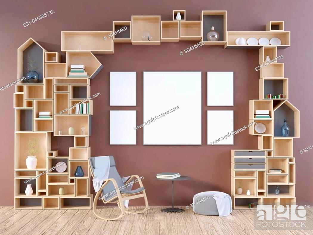 Stock Photo: Mock up poster, hipster, 3d illustration scandinavian, studio, style, template, up, urban, wall, white, wooden, work.