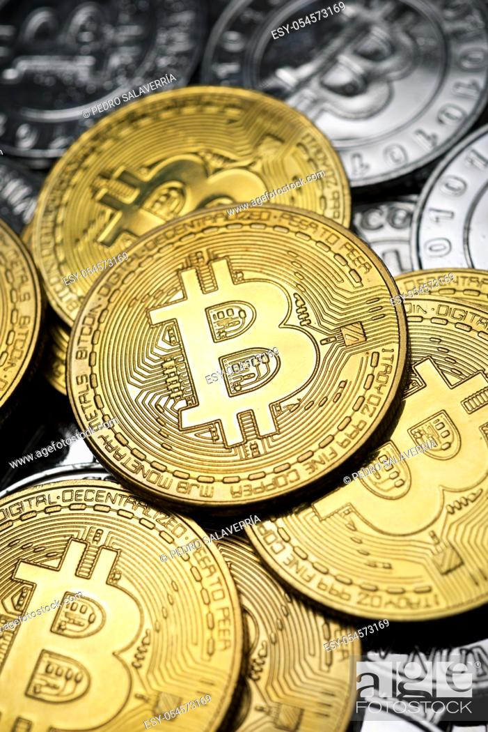 Stock Photo: Close-up of a group of bitcoin coins.