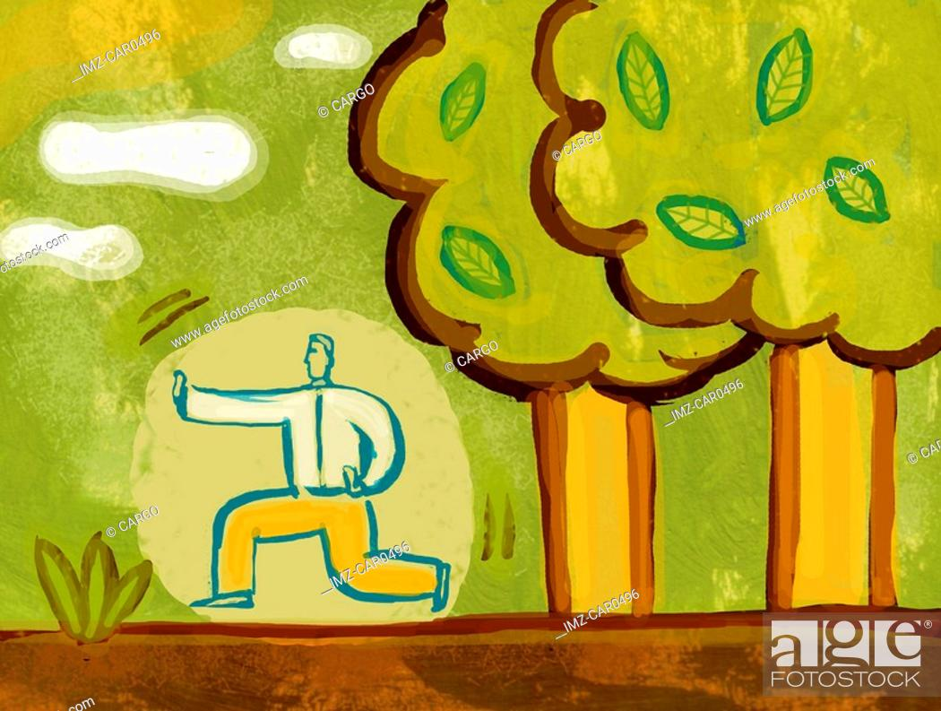 Stock Photo: Illustration of a man practicing Tai Chi next to trees.