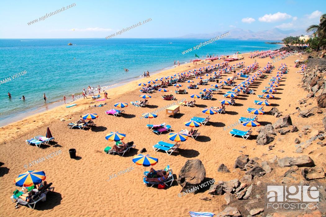 Stock Photo: Playa Grande in Lanzarote, Canary Islands, Spain.