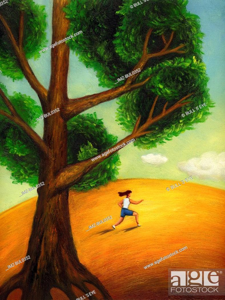 Stock Photo: A woman exercising under a tree.