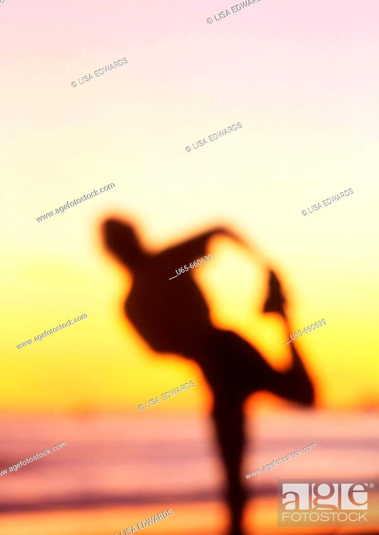 Stock Photo: Runner, stretching, beach, Santa Barbara, CA, USA.