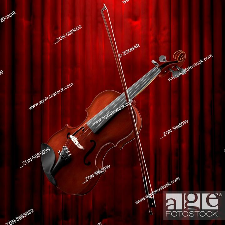 Stock Photo: violin and red curtain.