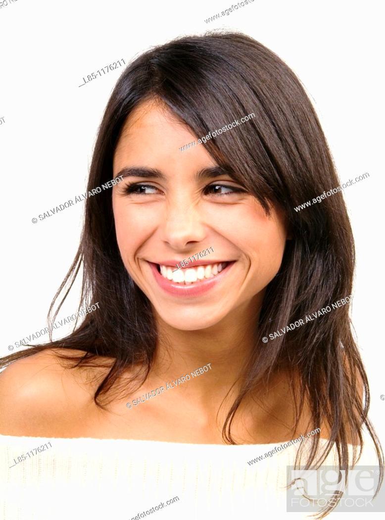Stock Photo: Smiling brunette.