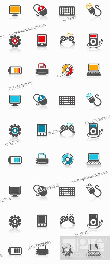 Stock Photo: Electronic Icon set.