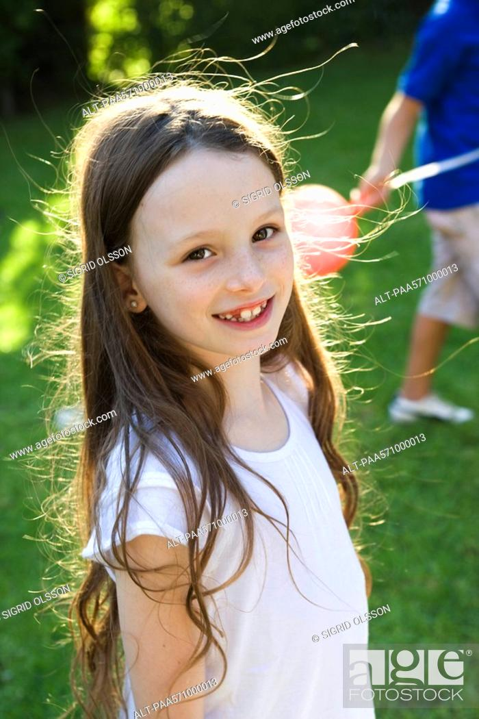 Stock Photo: Girl smiling, portrait.