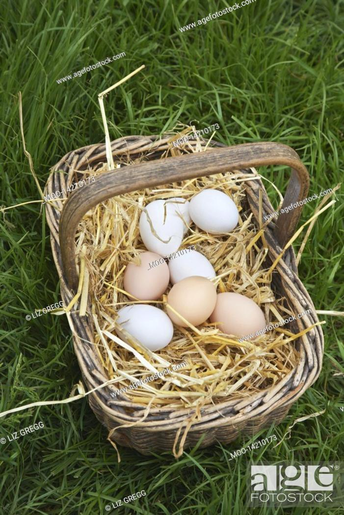 Stock Photo: Eggs in basket close-up.