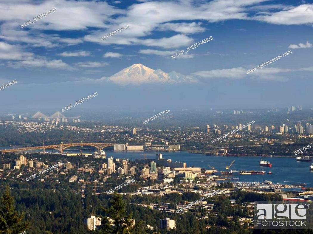 Stock Photo: Metro Vancouver area with Burrard Inlet and Mt. Baker.