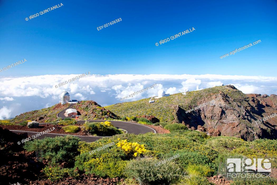 Stock Photo: La Palma observatories over clouds.