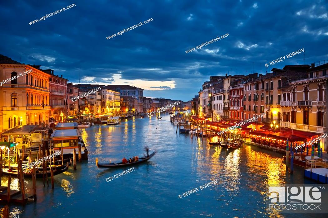 Stock Photo: Grand Canal at night, Venice.