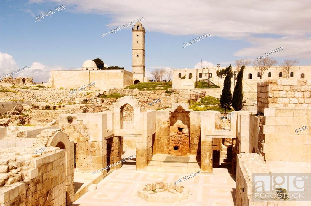 Stock Photo: Syria - Aleppo (Halab). Historical Aleppo. UNESCO World Heritage List, 1986. Citadel, 13th century. Royal Palace.