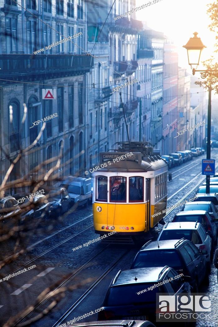 Stock Photo: Classic old tram in the streets of Alfama in Lisbon, Portugal.