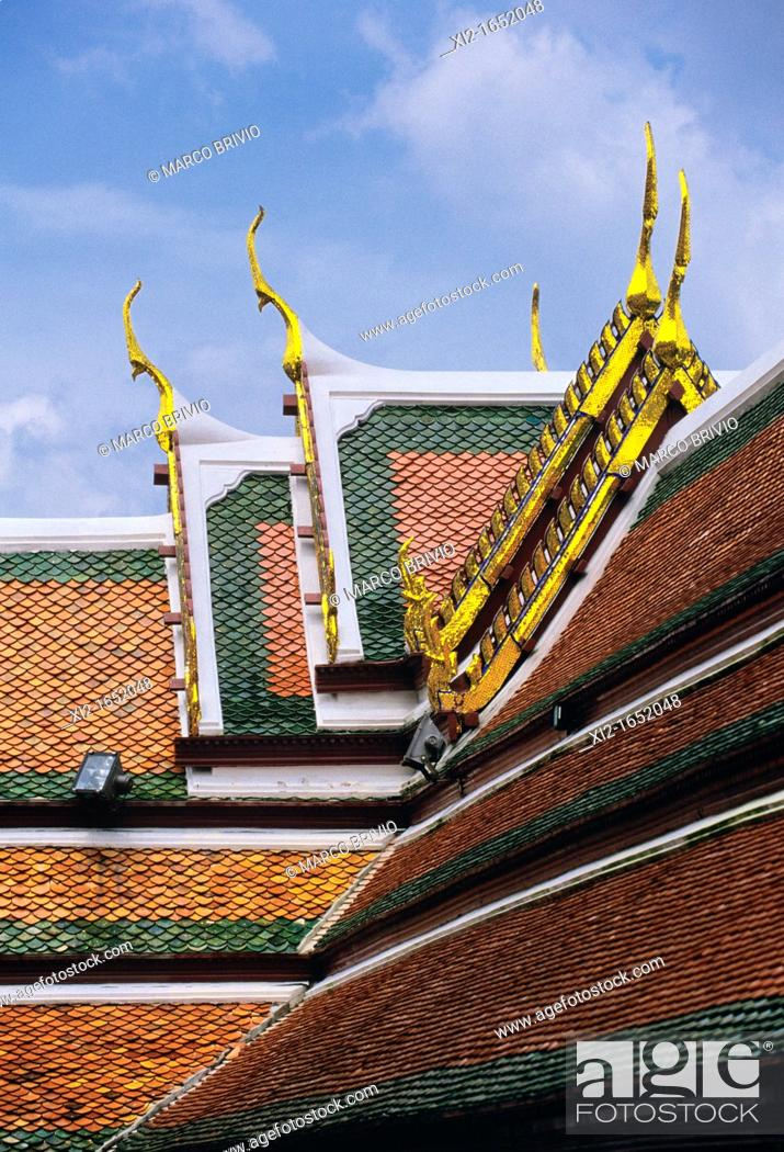Stock Photo: The Wat Phra Kaew Wat Phra Kaeo, Temple of the Emerald Buddha full official name Wat Phra Si Rattana Satsadaram, is regarded as the most sacred Buddhist temple.