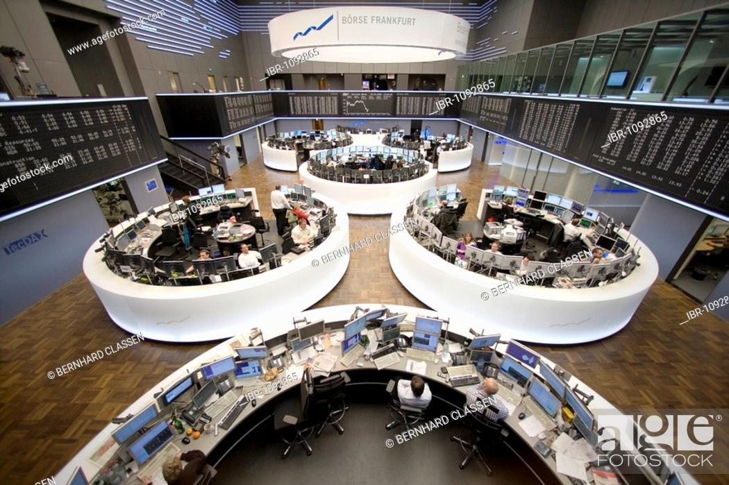 Stock Photo: Trading floor of the Frankfurt Stock Exchange, Frankfurt am Main, Hesse, Germany, Europe.