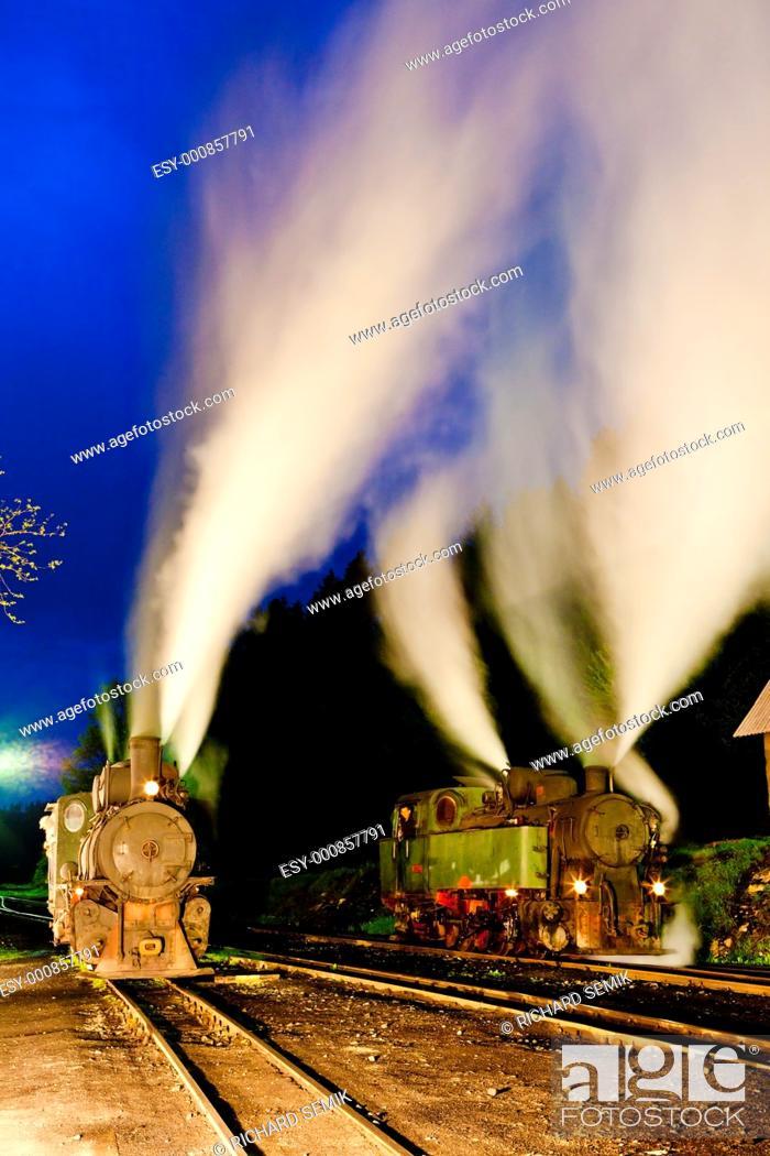 Stock Photo: steam locomotives at night, Oskova, Bosnia and Hercegovina.