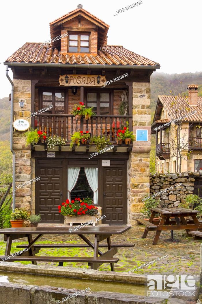 Stock Photo: Accommodation, Posada Hotel typical stone house. Rural Village of Barcena Mayor Los Tojos. Saja Natural Park, Saja-Nansa, Cantabria, Spain Europe.