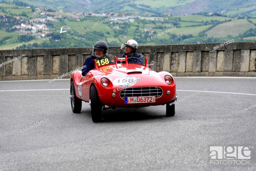Stock Photo: Stanguellini 1100 Sport, built in 1948, Mille Miglia 2014 or 1000 Miglia 2014, vintage car race, San Marino, Italy.
