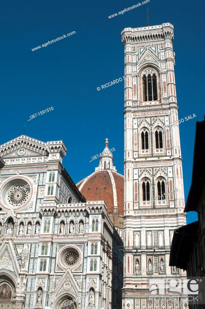Stock Photo: Italy, Tuscany, Florence, Santa Maria in Fiore Cathedral, Giotto Belfry.