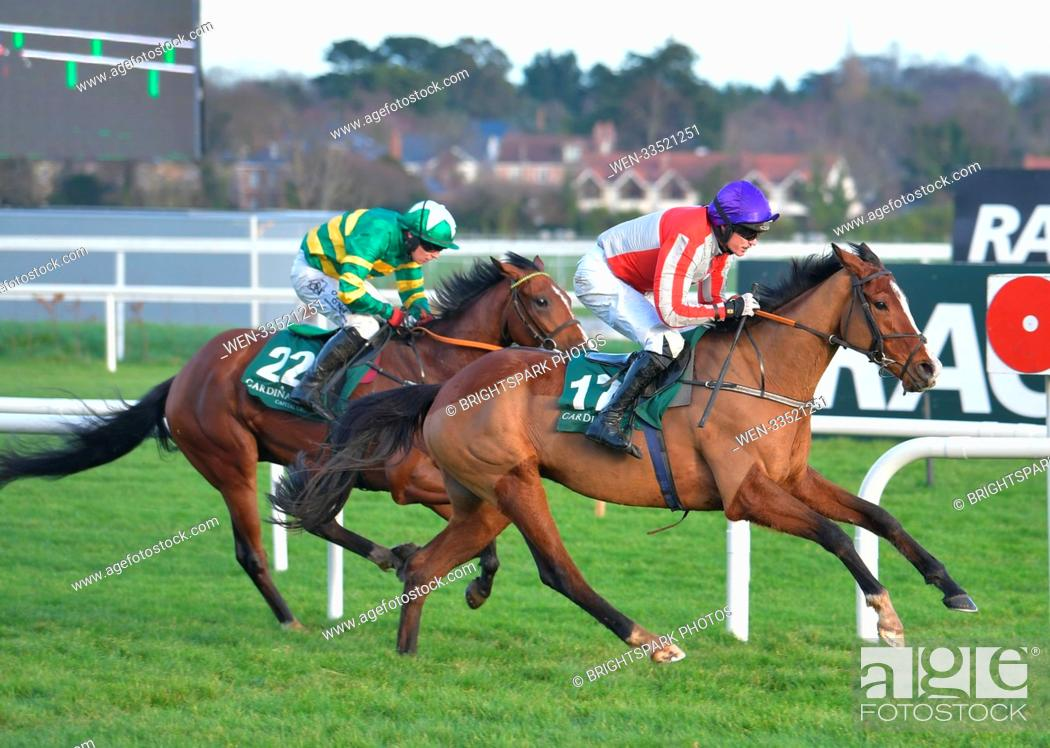 Stock Photo: Action from Leopardstown St Stephen's day racing meeting Featuring: Sparky Stowaway (17) holds off Banksoftheshannon (22) on its way to winning the 1.