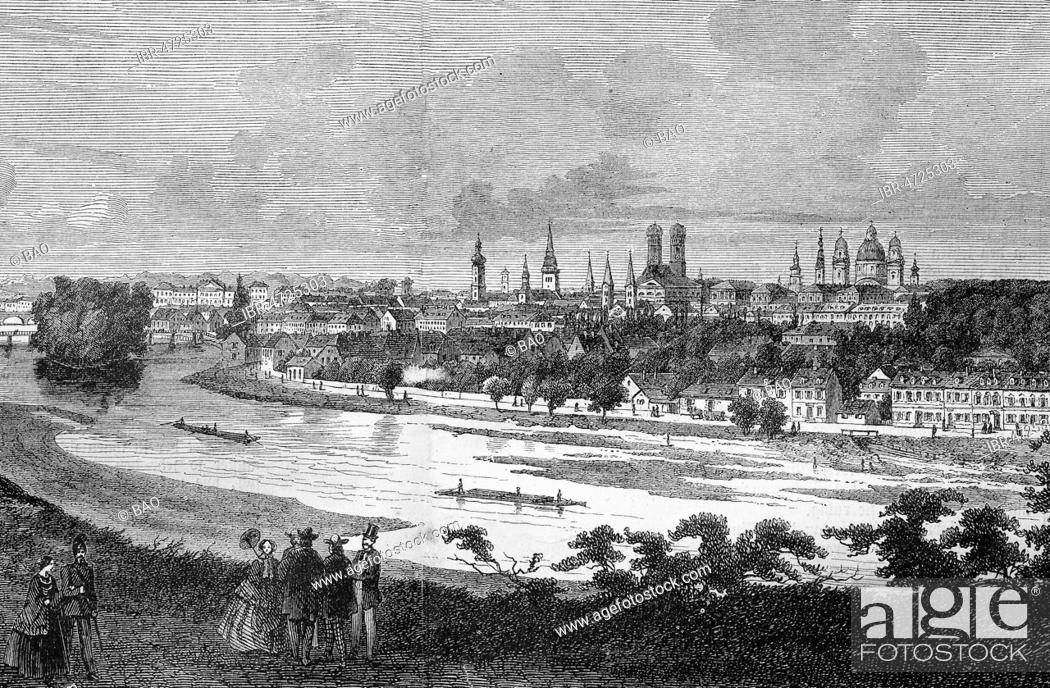 Stock Photo: Panorama view of Munich with river Isar, Bavaria, woodcut, 1888, Germany.