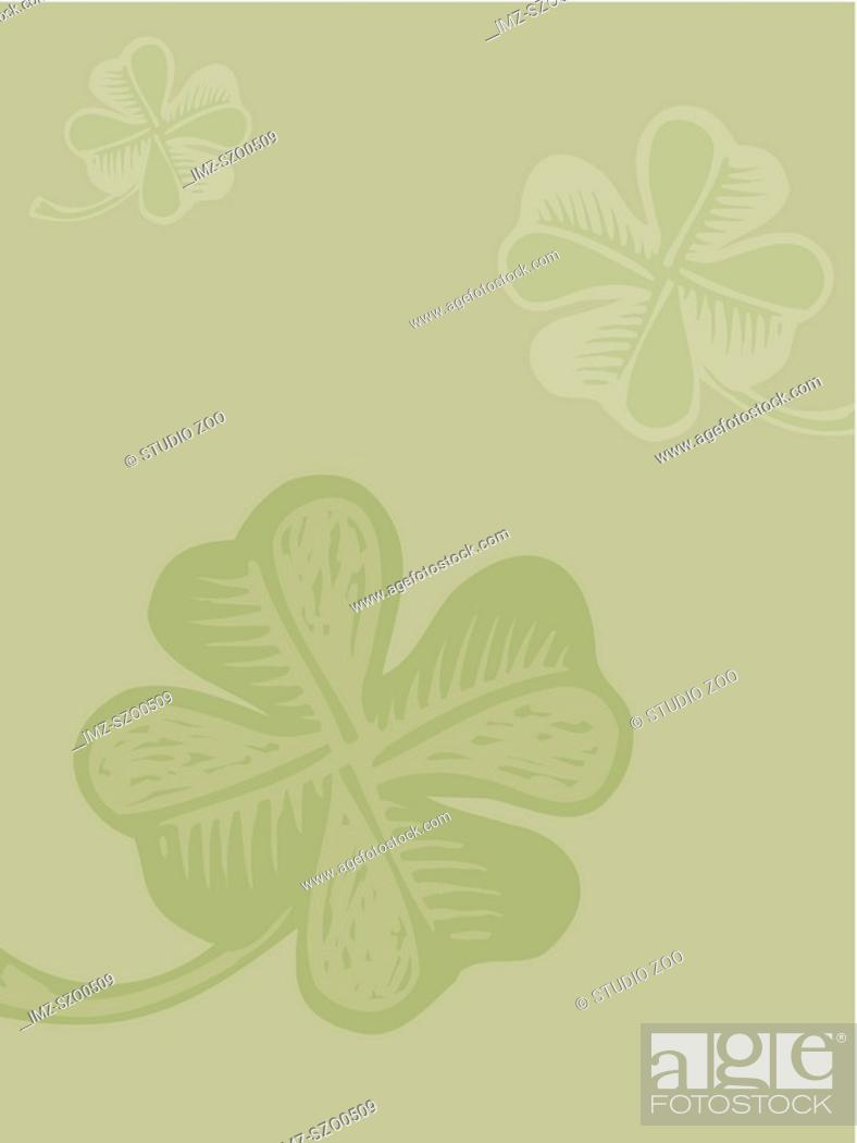Stock Photo: Four leaf clover on green background.