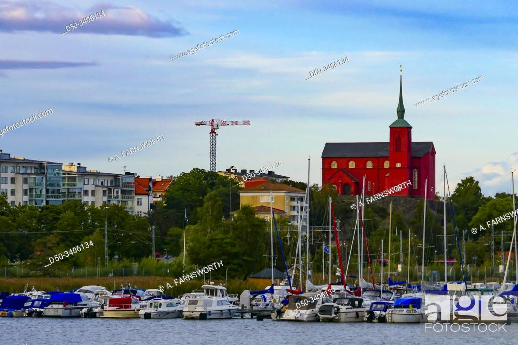 Stock Photo: Nynashamn, Sweden The Nynashamn Church and harbor.