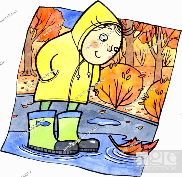 Stock Photo: A child in rain boots looking at an orange leaf in a puddle.
