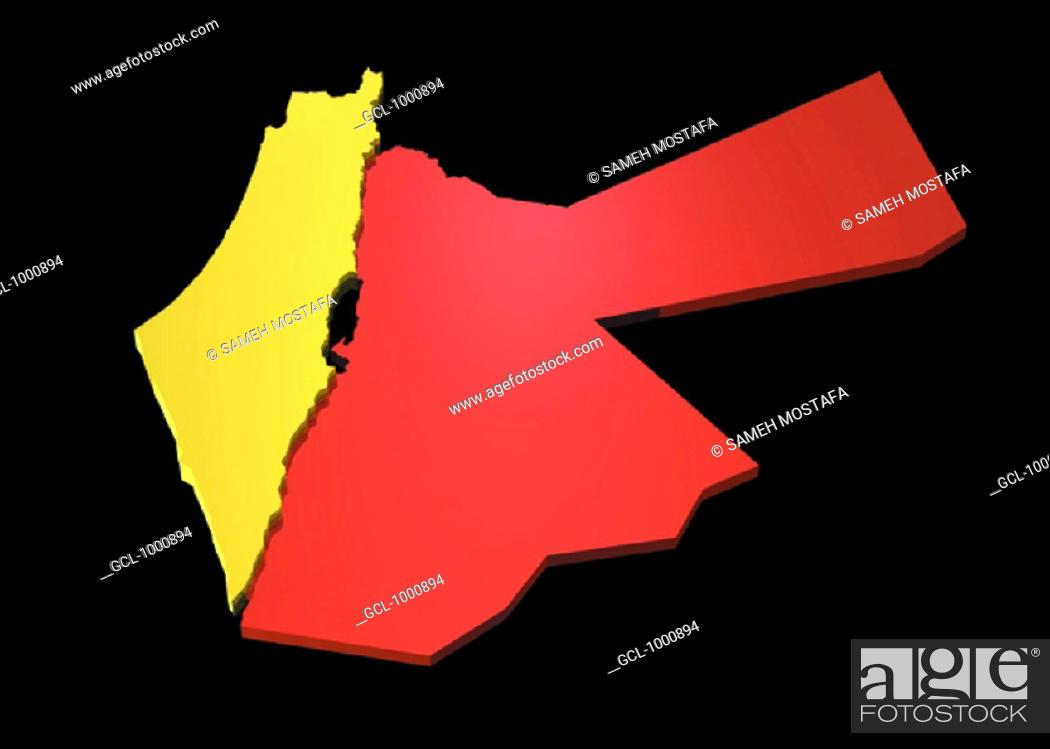 Stock Photo: map of Jordan and Palestine.