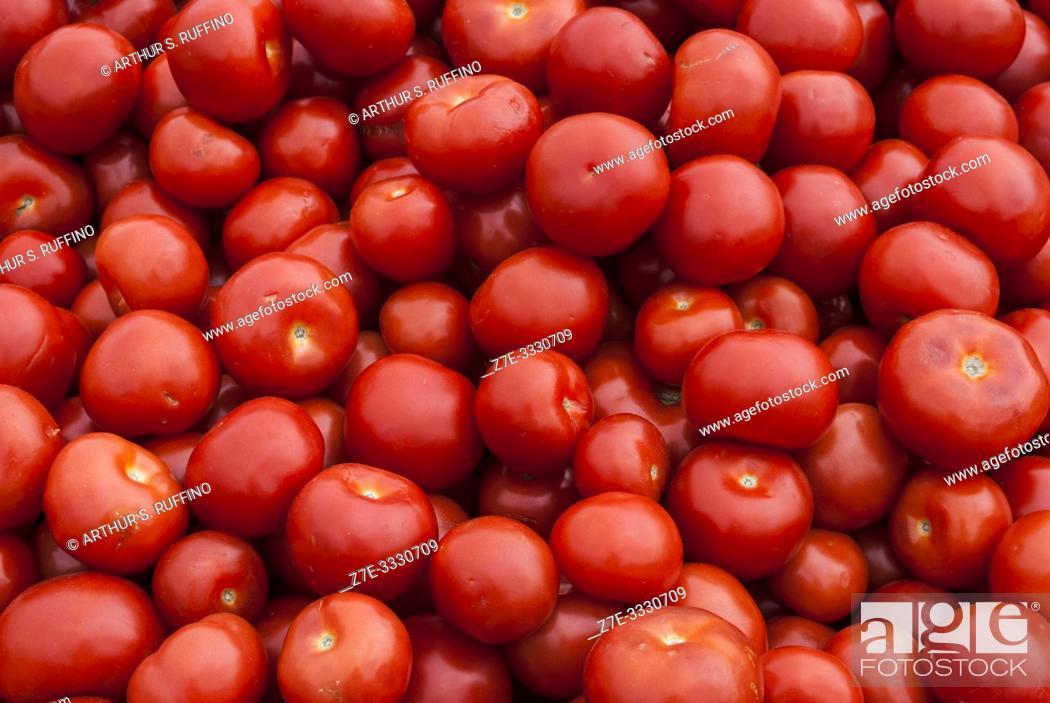 Stock Photo: Tomato produce stand. Market Square. Helsinki, Finland, Europe.