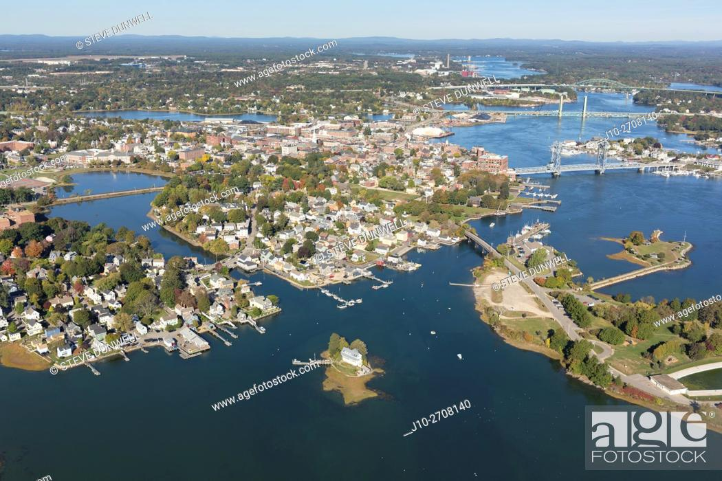 Stock Photo: Aerial view of city, harbor and bridges, Portsmouth, NH, USA.