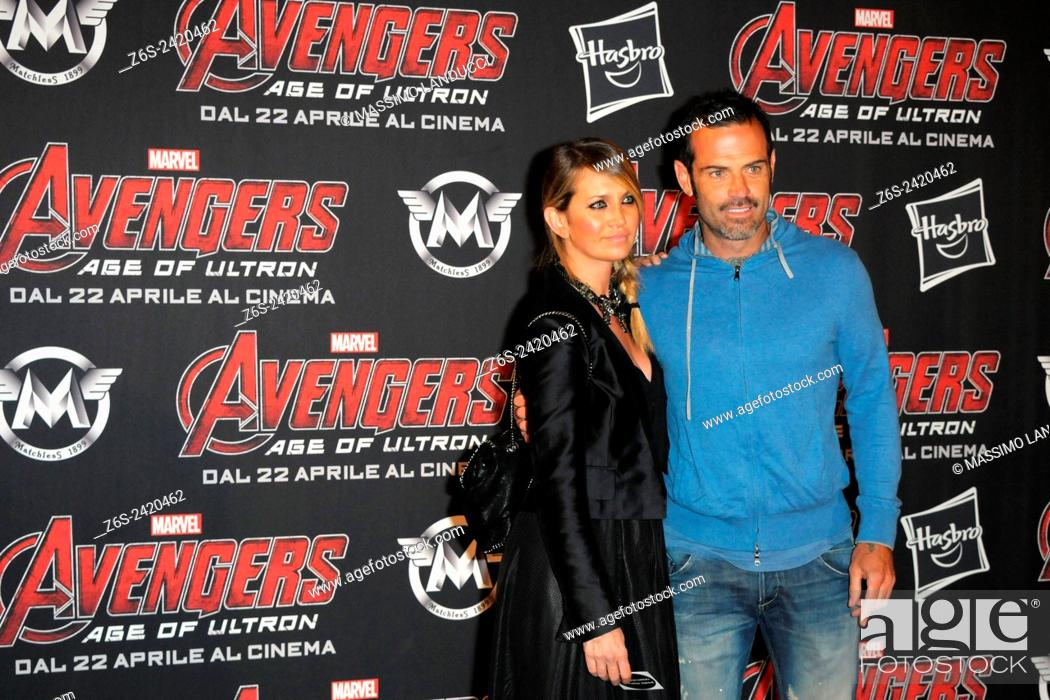 Imagen: Ascanio Pacelli ; Katia Pedrotti ; celebrities; 2015;rome; italy;event; red carpet ; avengers, age of ultron.