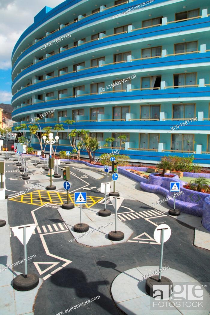 Stock Photo: Las Americas beach Tenerife. Mare Nostrum hotel and karting circuit for children.