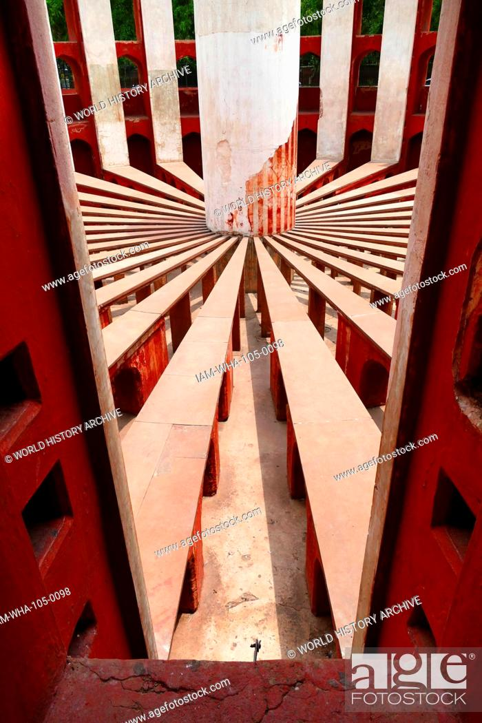 Stock Photo: Jantar Mantar, in New Delhi, India, consists of 13 architectural astronomy instruments. Built by Maharaja Jai Singh II of Jaipur, from 1723 onwards.