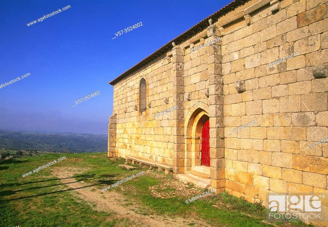 Stock Photo: Romanesque church. Hinojosa de Duero, Salamanca province, Castilla Leon, Spain.