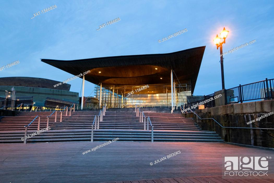 Stock Photo: The Welsh Assembly debating chamber, or Senedd, Cardiff  Early evening shot with steps  Wide angle.