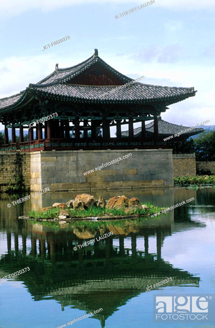 Stock Photo: South Korea, Kyongjiu, Anapchi pavilion.