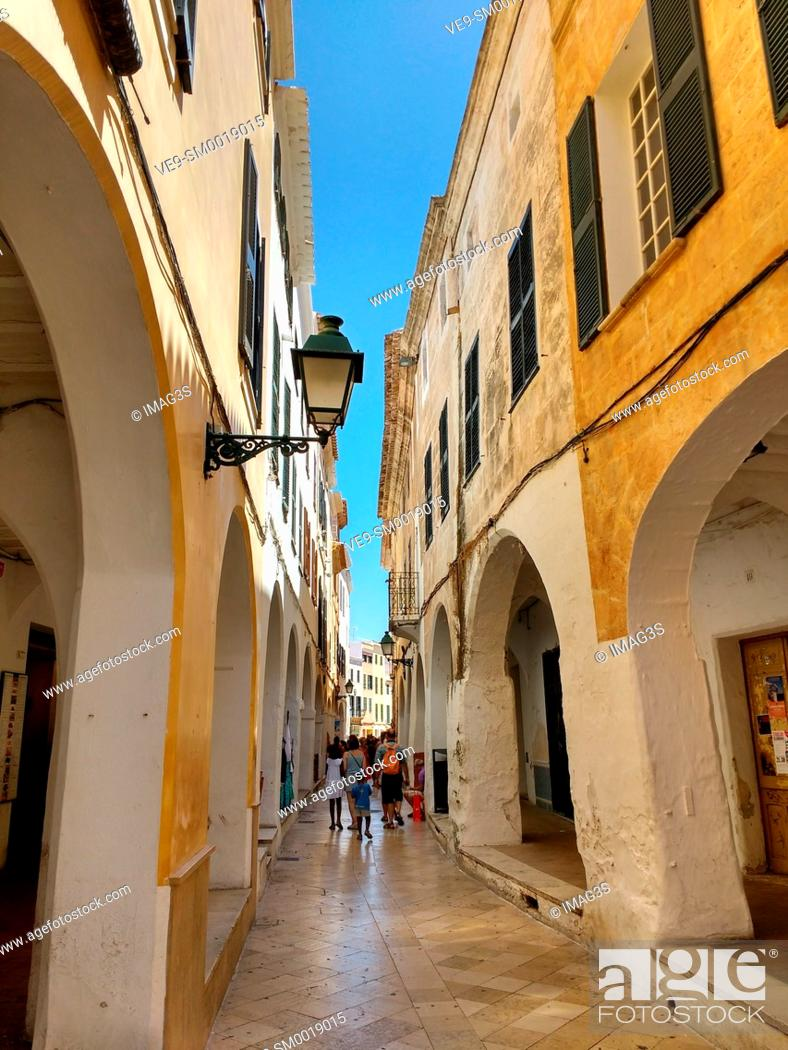 Stock Photo: Ciutadella Menorca Ses Voltes arches Ciudadela downtown in Balearic islands.