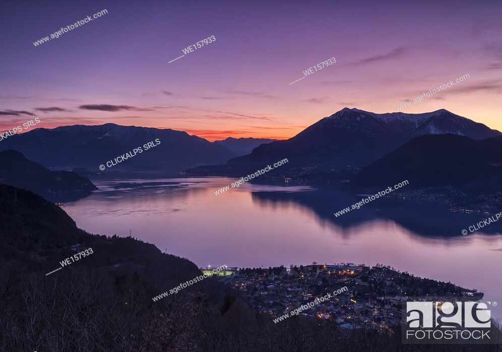 Stock Photo: Sunset over Lake Como from heights over Dervio, Lecco district, Lombardy, Italy, Europe.