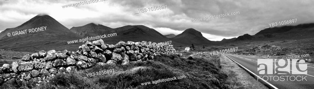 Stock Photo: Panorama of The Cuillen Mountains from Sligachan, Isle of Skye, Scotland.