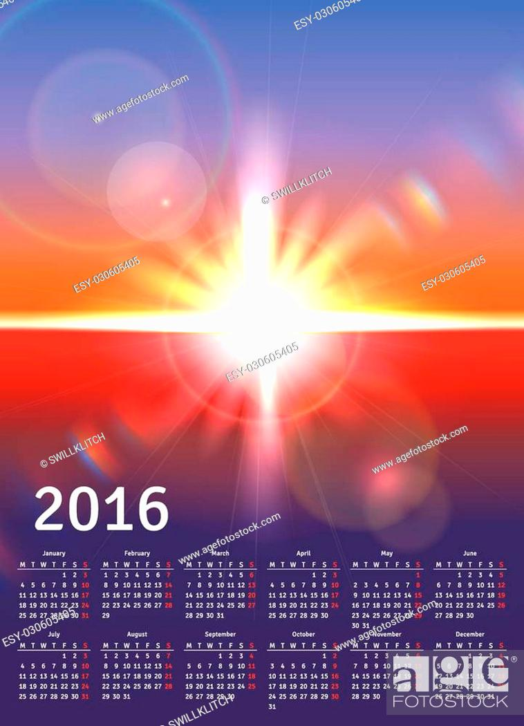 Stock Vector: Calendar 2016 with scenic view of sunny landscape.