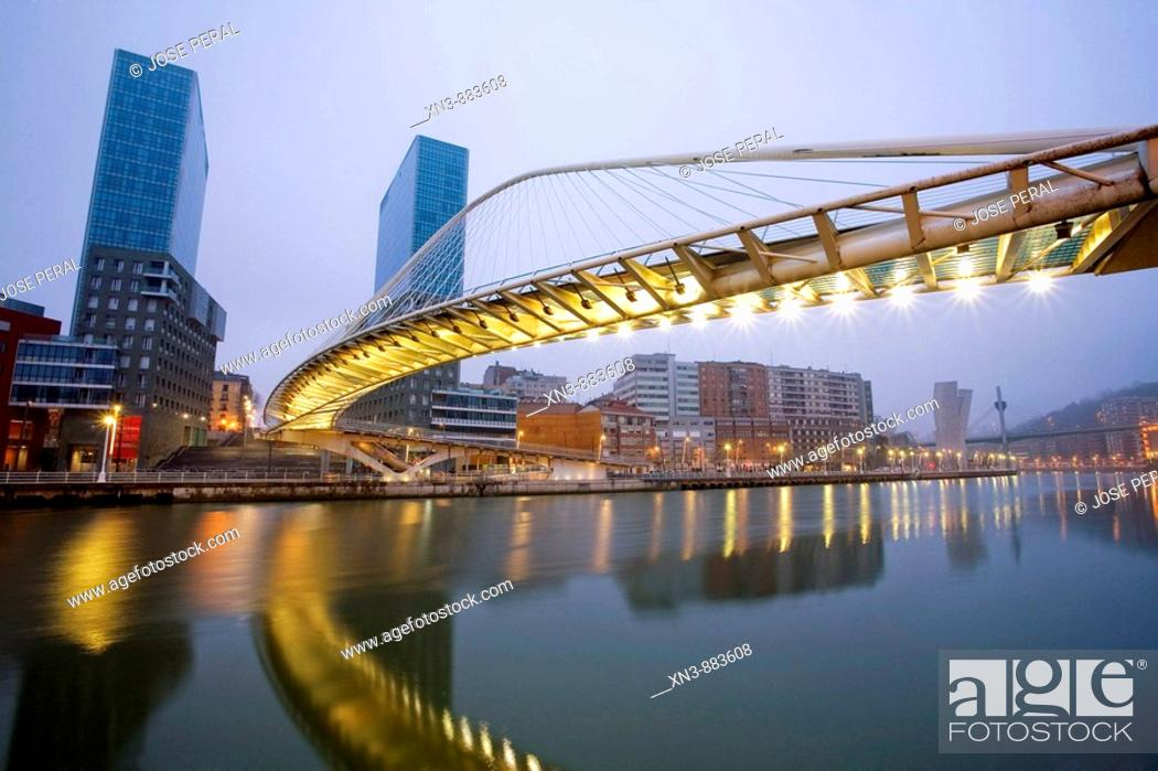 Stock Photo: Zubizuri bridge by Santiago Calatrava, Bilbao. Biscay, Euskadi, Spain.