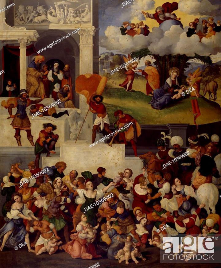 Stock Photo: Massacre of the Innocents, 1520-1525, by Ludovico Mazzolino (ca 1480-ca 1530), panel, 135x112 cm.  Rome, Galleria Doria Pamphilj (Art Gallery).