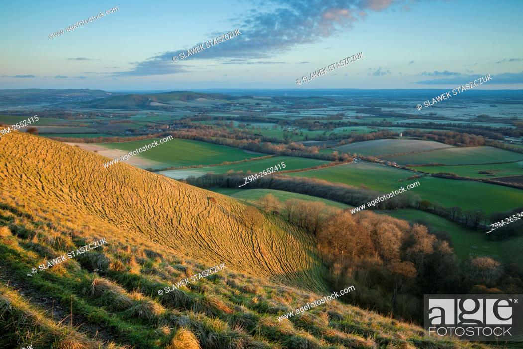Stock Photo: Spring sunrise in South Downs National Park near Eastbourne, East Sussex, England.