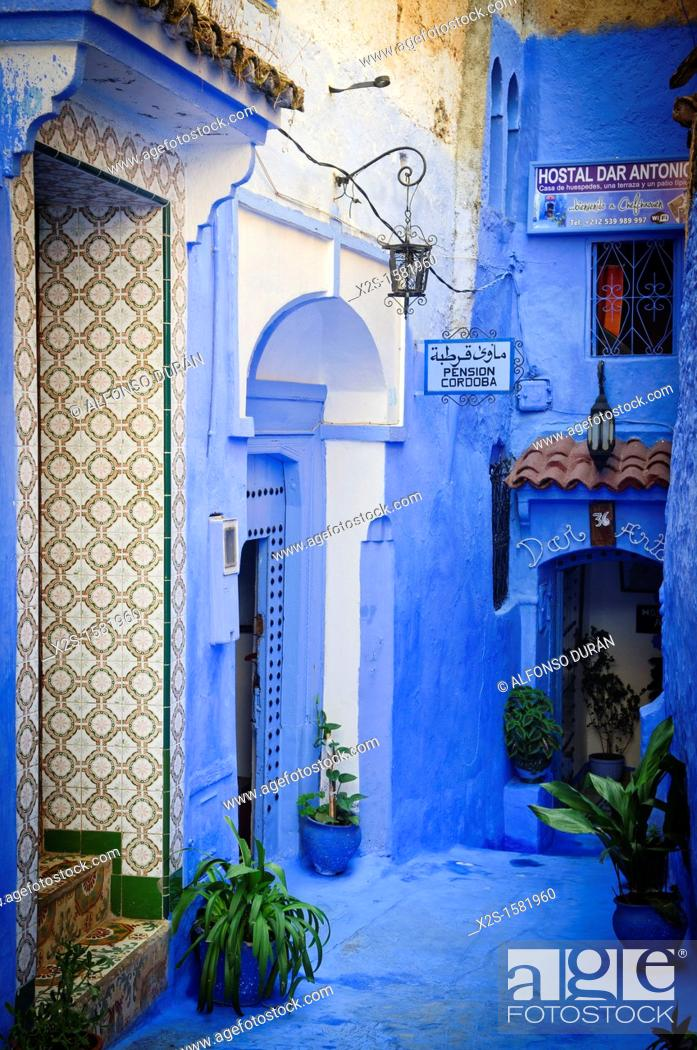 Stock Photo: Gateway to the board, Chefchaouen, Morocco.